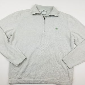 Men's Lacoste Quarter Zip Pullover Sweater Gray